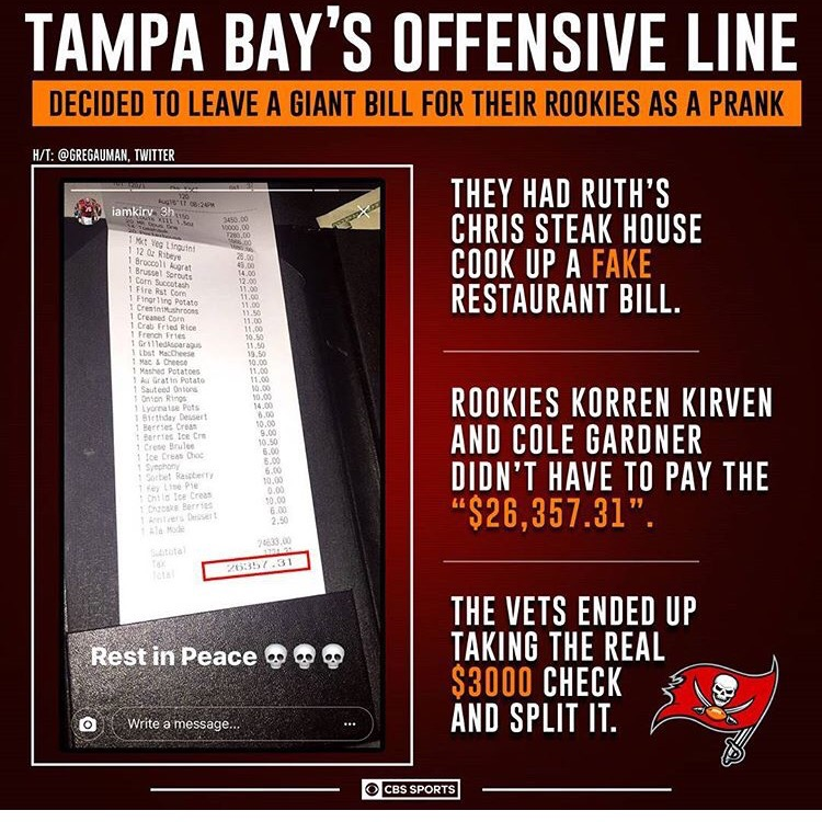 Rookie Hazing On Steroids: Bucs OL Creates Fake $26k Bill To Scare The Shit Out Of TheirRookies